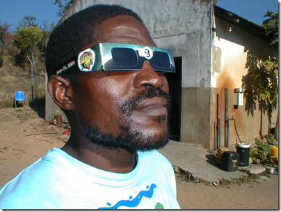 Elliott, a wire sculptor from Mpumalanga, witnessing the solar eclipse